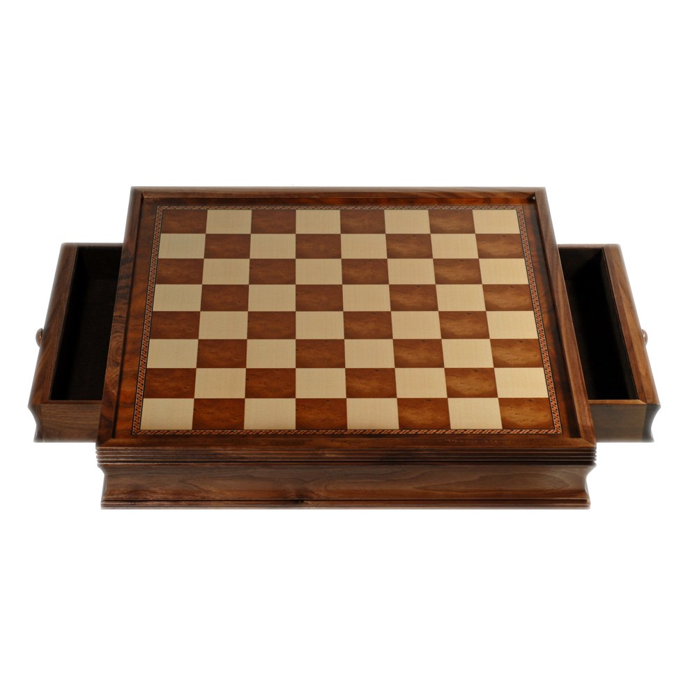 Deluxe chess board with storage drawers camphor wood 19 in wood expressions - Puzzle boards with drawers ...