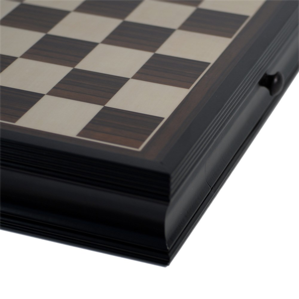 Deluxe chess board with storage drawers black stained wood 19 in wood expressions - Puzzle boards with drawers ...