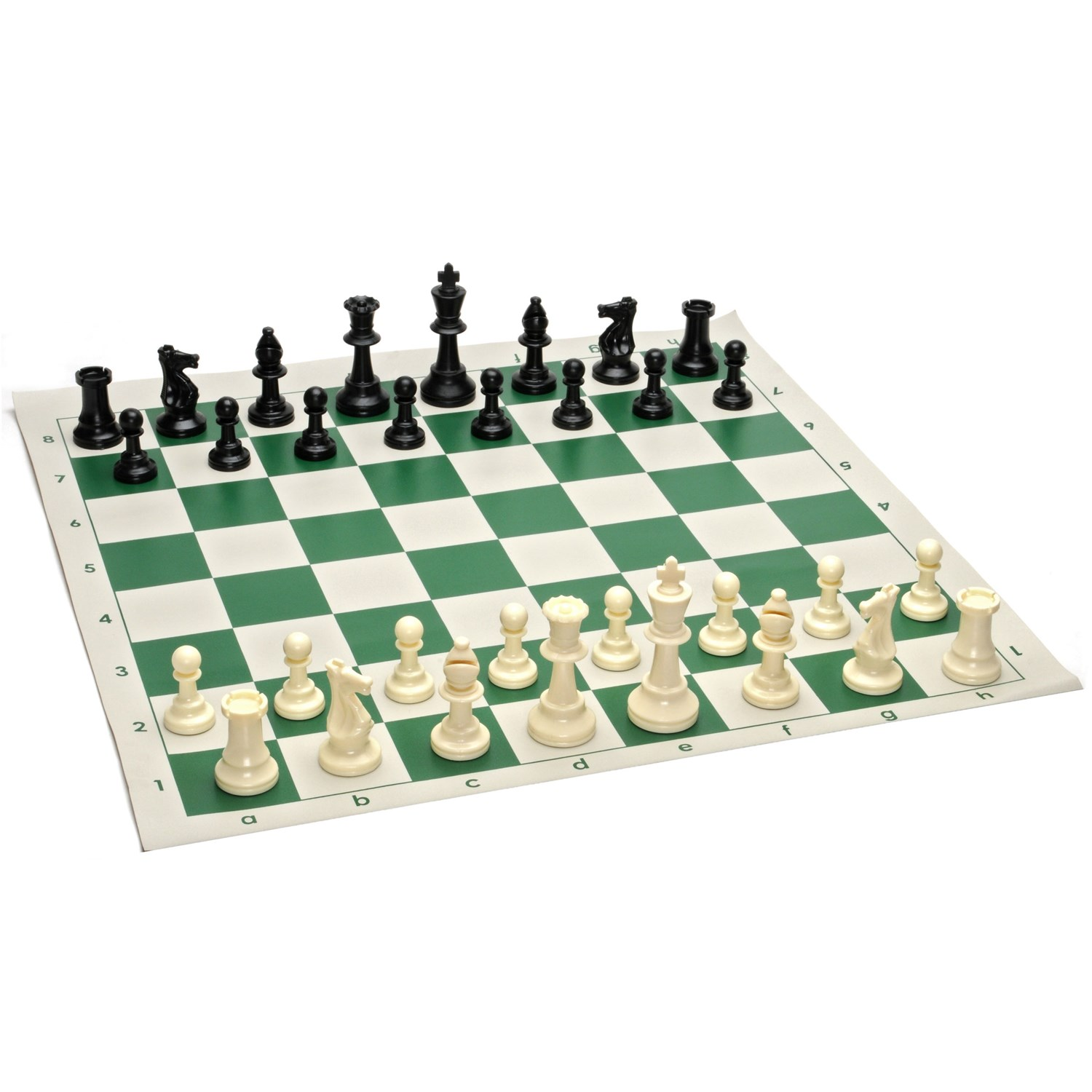 Tournament Chess Pack Staunton Pieces With Green Board