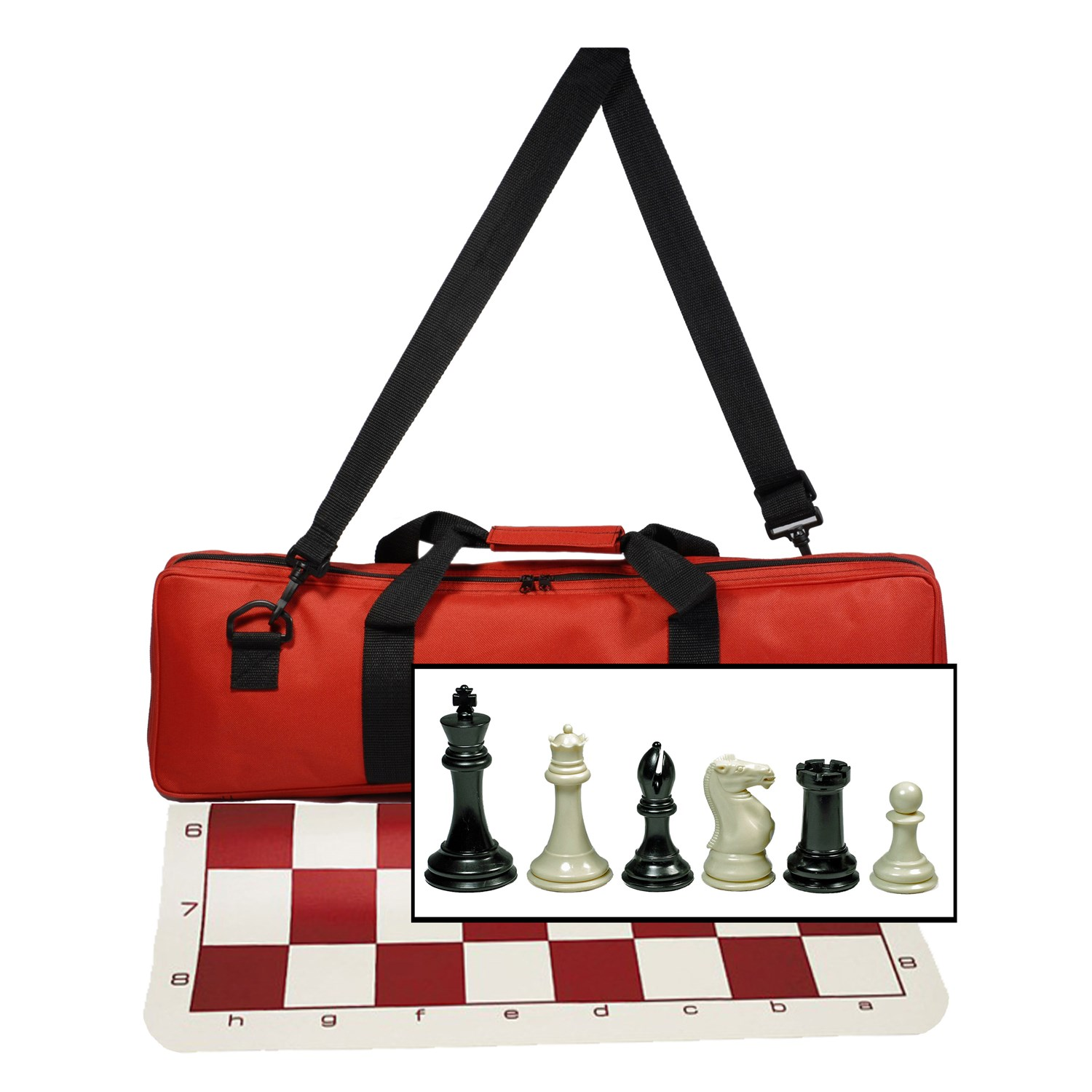 We Ultimate Tournament Chess Set With New Red Silicone Mat Canvas Bag Super Triple Weighted Chessmen 4 King