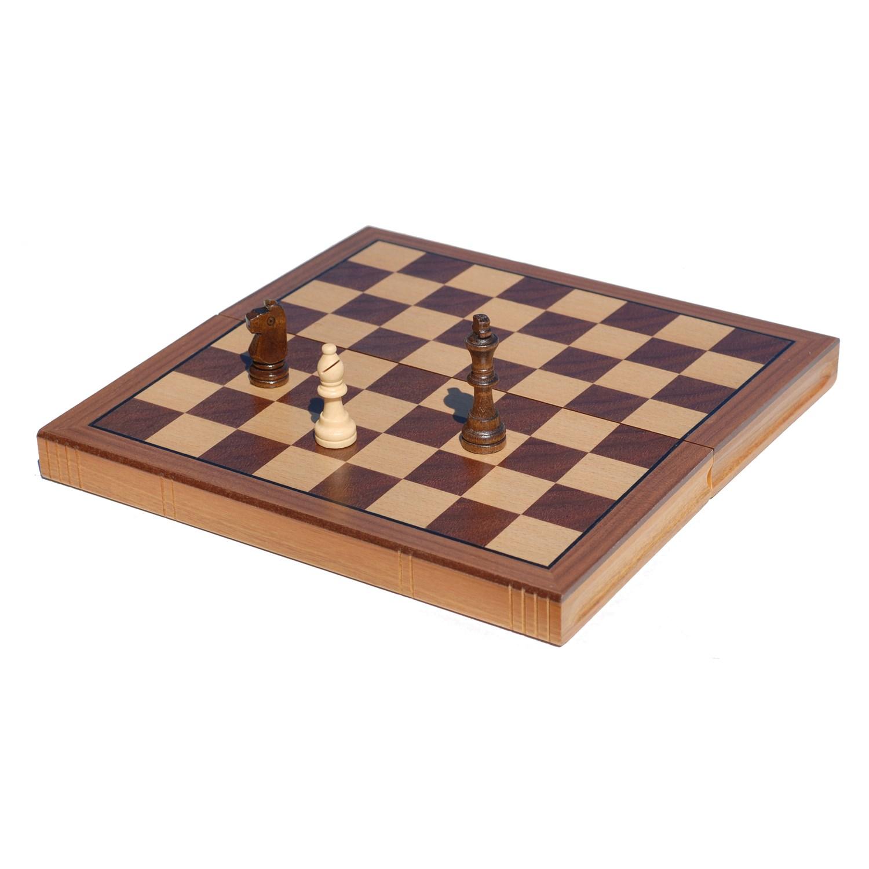 Book Style Folding Chess Set Oak Wood Board 11 In