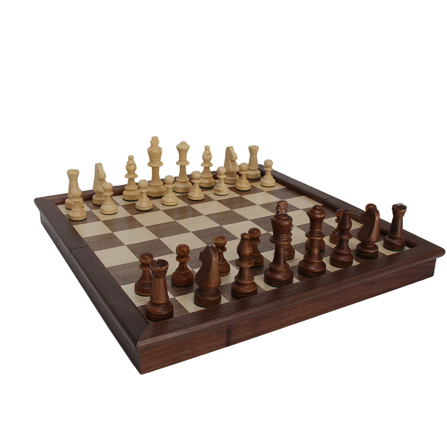 Classic Folding Chess Set Walnut Wood Board 17 Inch