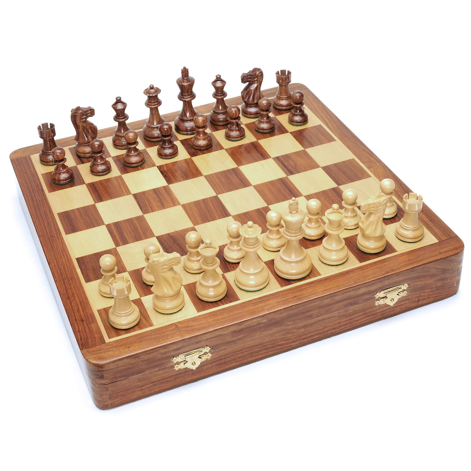 Deluxe english style chess set in wooden case felt storage for handcarved pieces wooden - Deluxe chess sets ...
