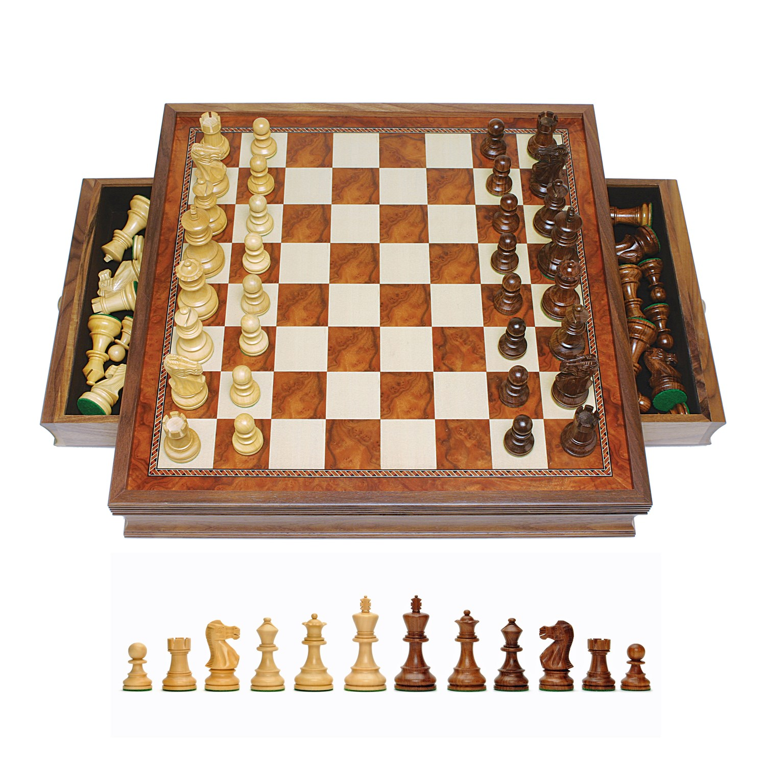 Grand English Style Chess Set With Storage Drawers