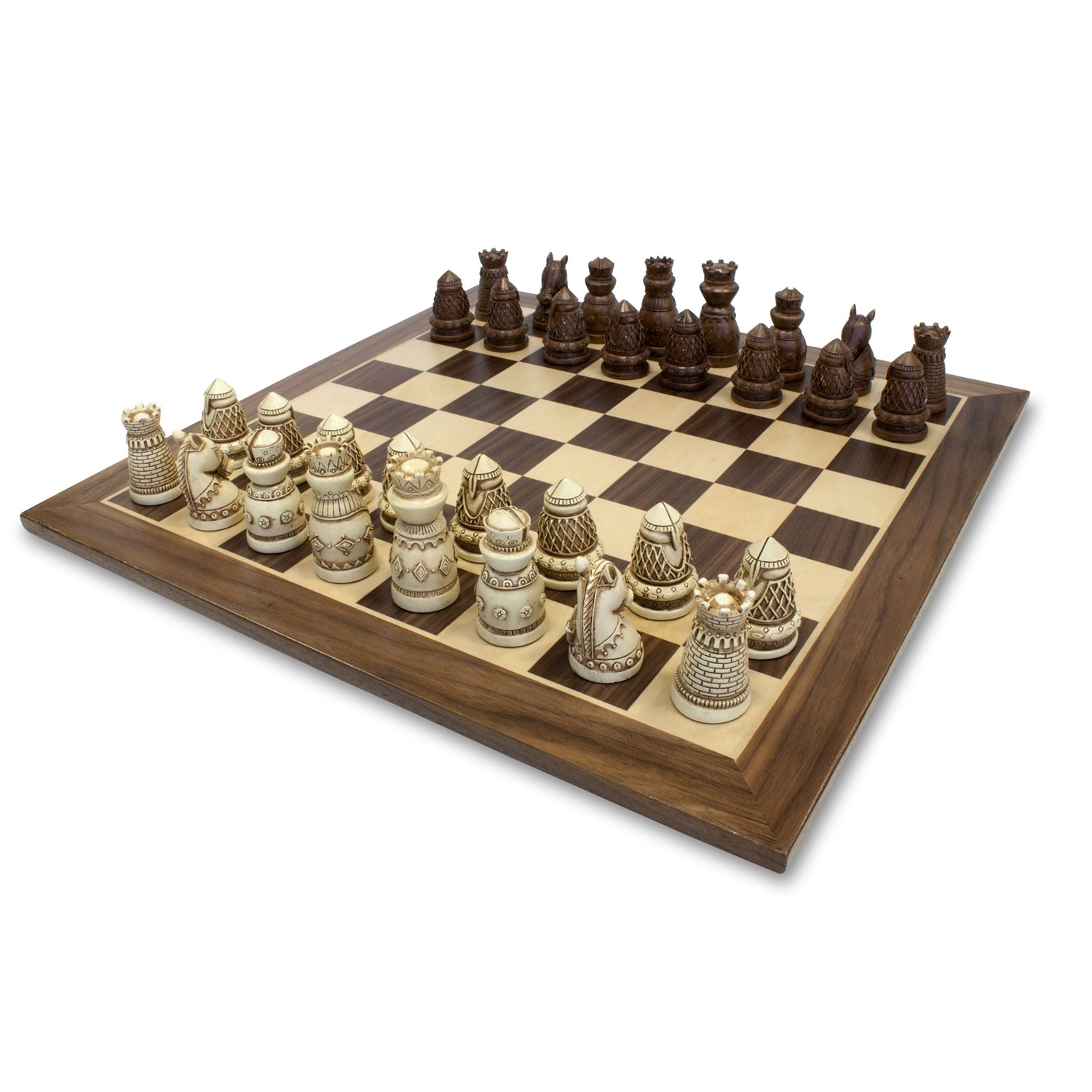 Medieval Chess Set Polystone Pieces With A Wooden Board