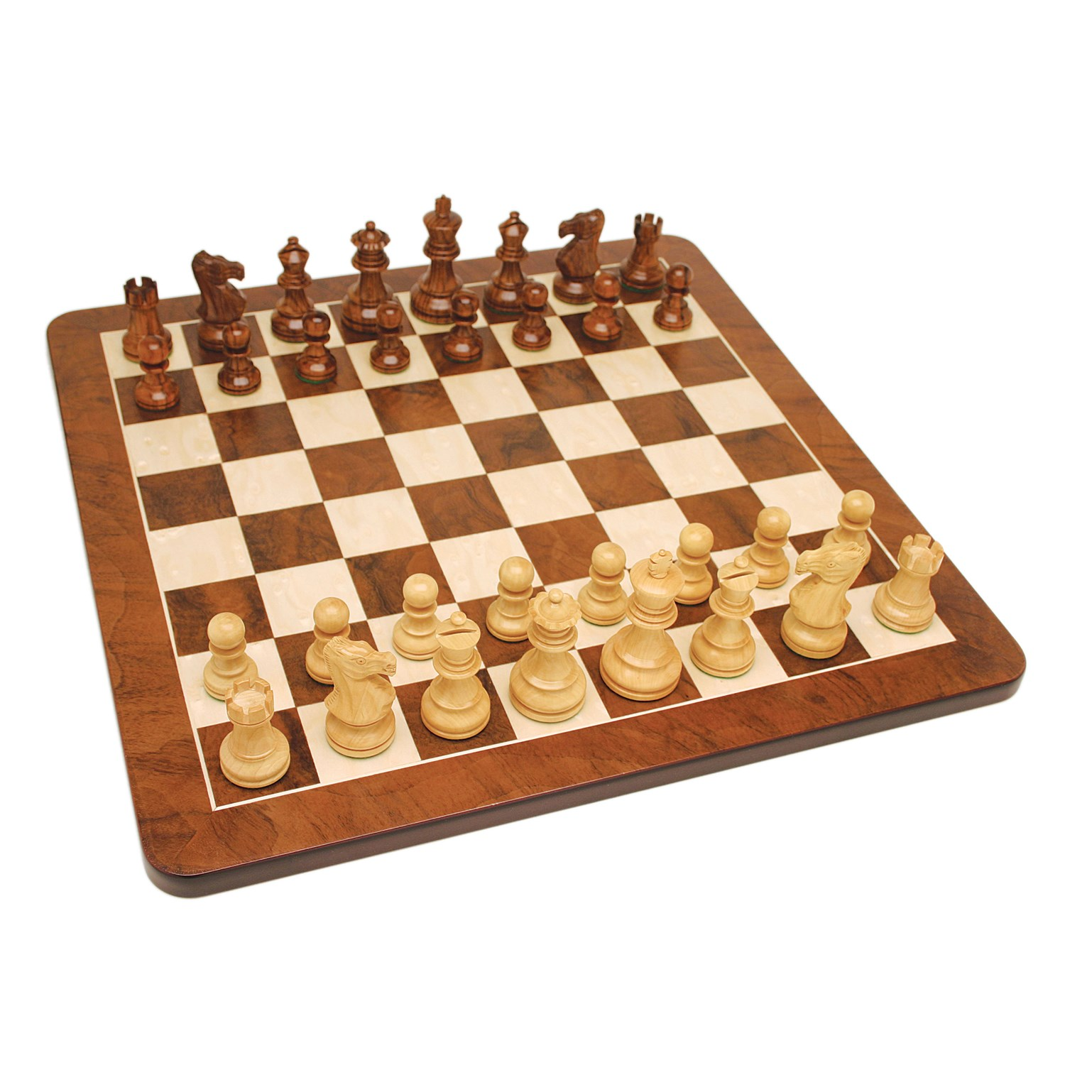 English Style Chess Set Weighted Pieces Walnut Root