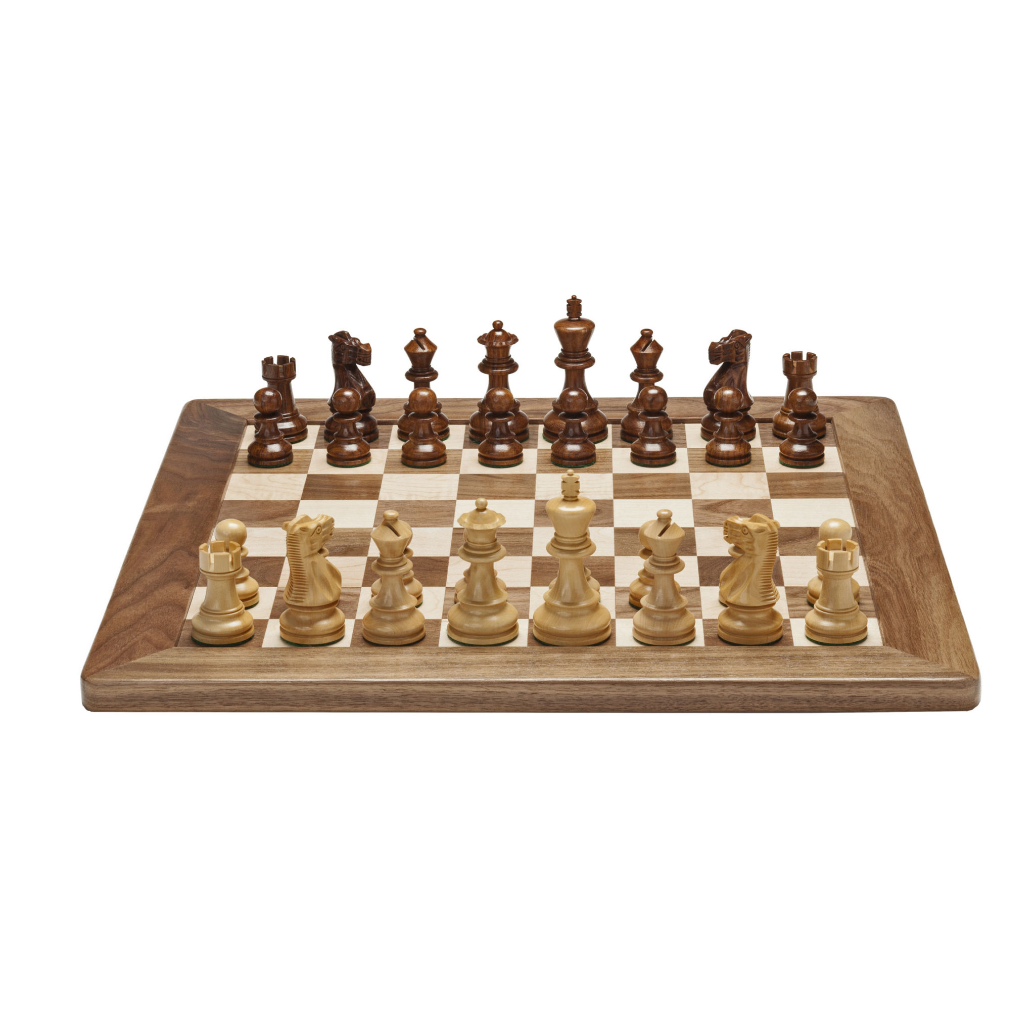 Deluxe english chess set weighted pieces with solid maple walnut wood board 18 in made in - Deluxe chess sets ...