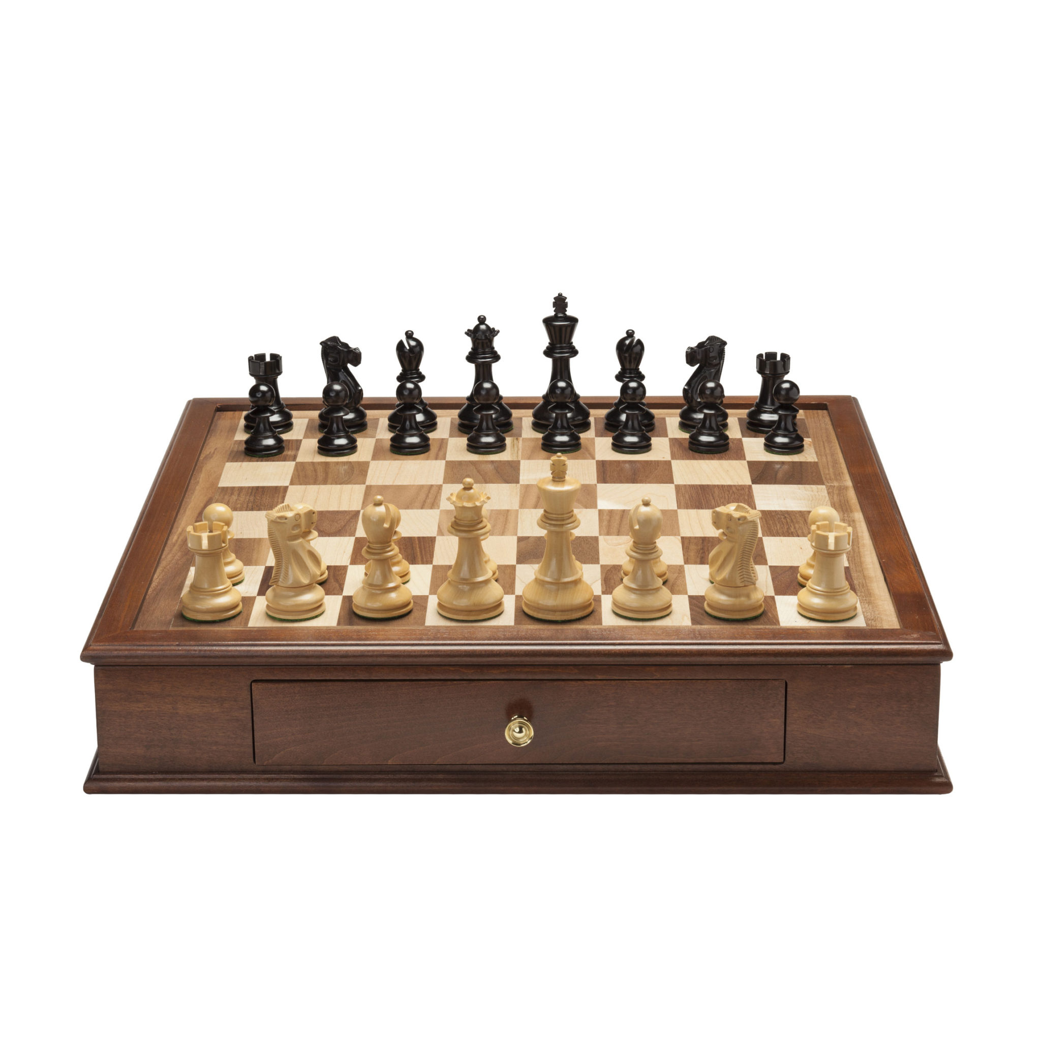 Grand Jacques Chess Set With Storage Drawers Weighted Pieces With Solid Maple Walnut Wood Board 19 In Made In Usa