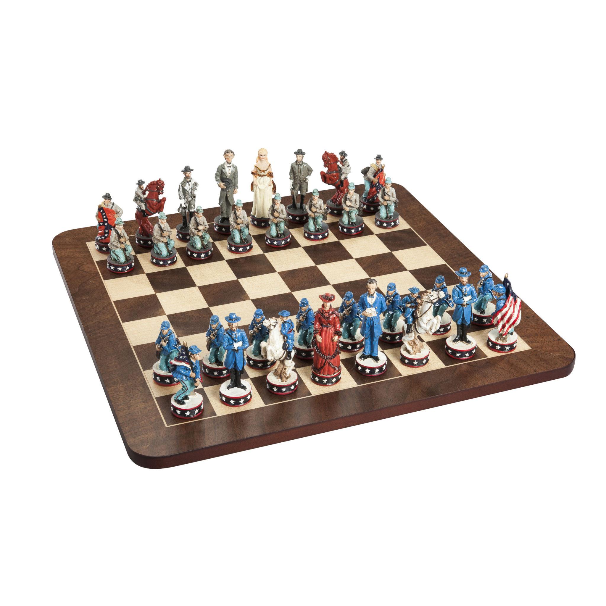 Civil War Chess Set Handpainted Pieces Walnut Root