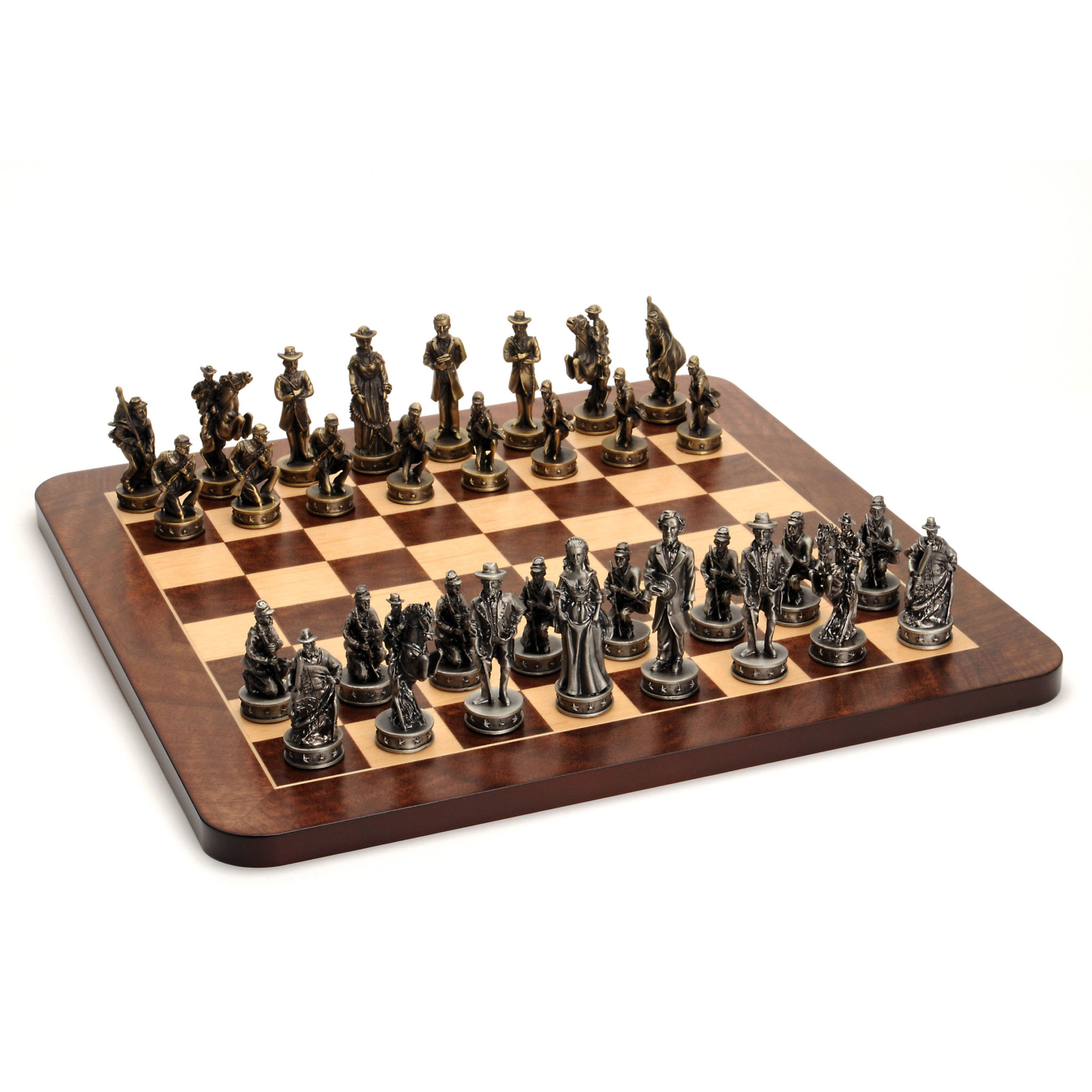 Civil War Chess Set Pewter Pieces Amp Walnut Root Board 16