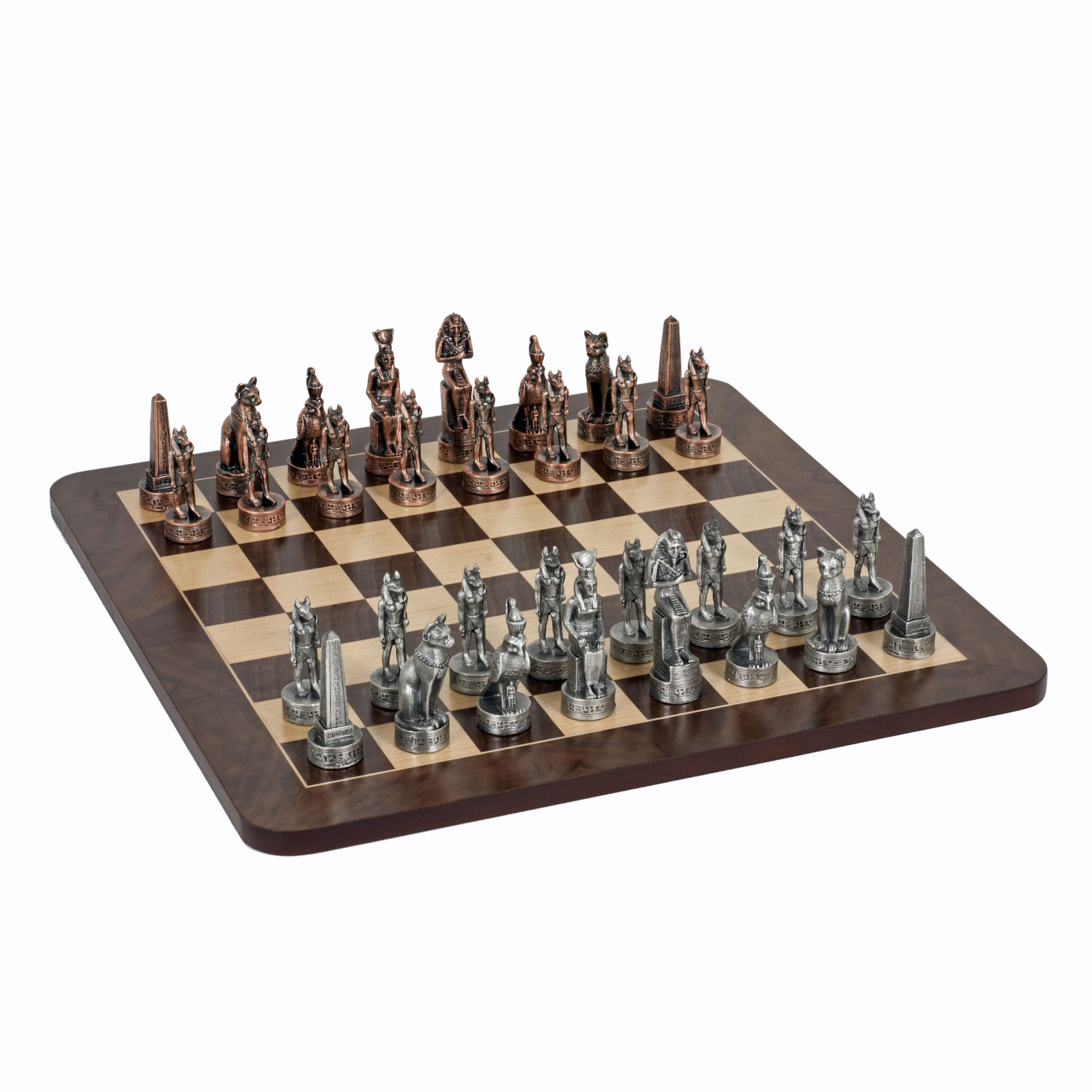 Egyptian Chess Set Pewter Pieces Walnut Root Board 16