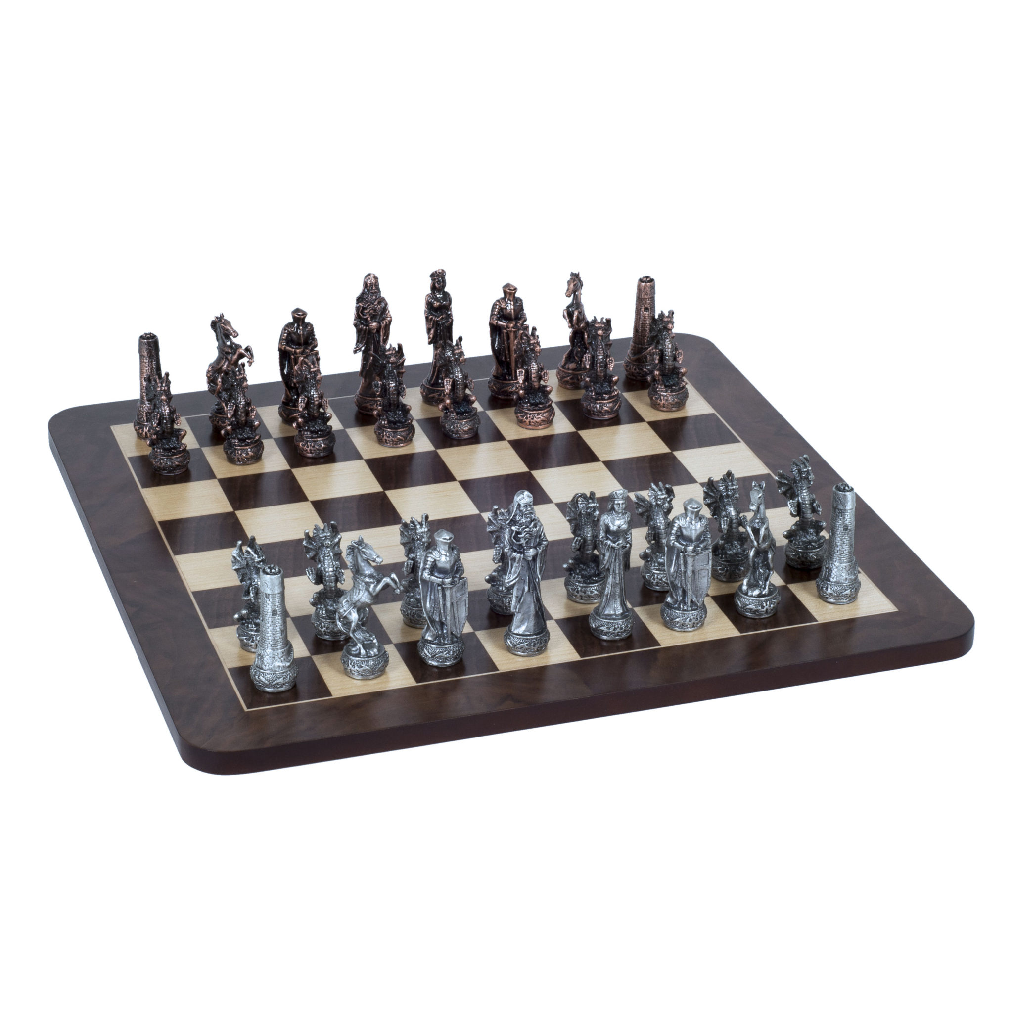 Fantasy Chess Set Pewter Pieces Amp Walnut Root Board 16