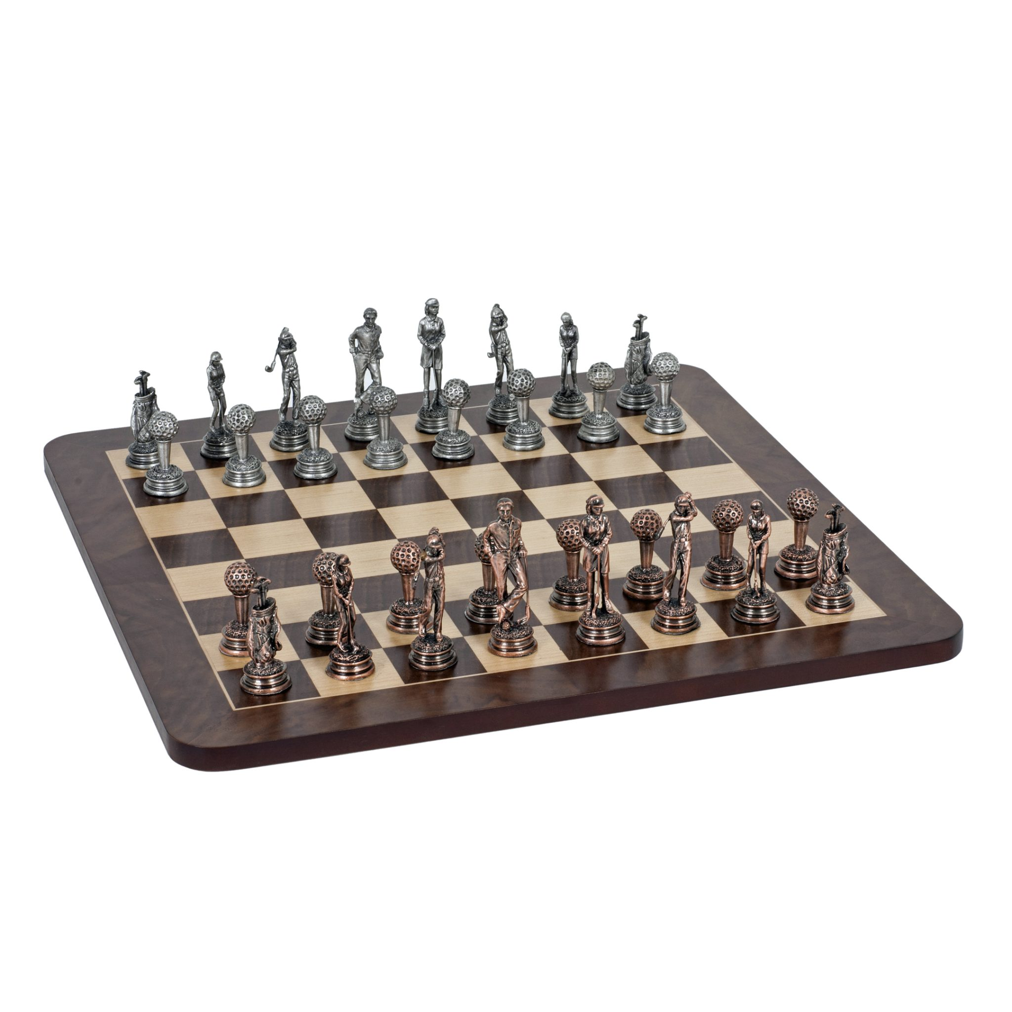 Golf Chess Set Pewter Pieces Walnut Root Board 16 In