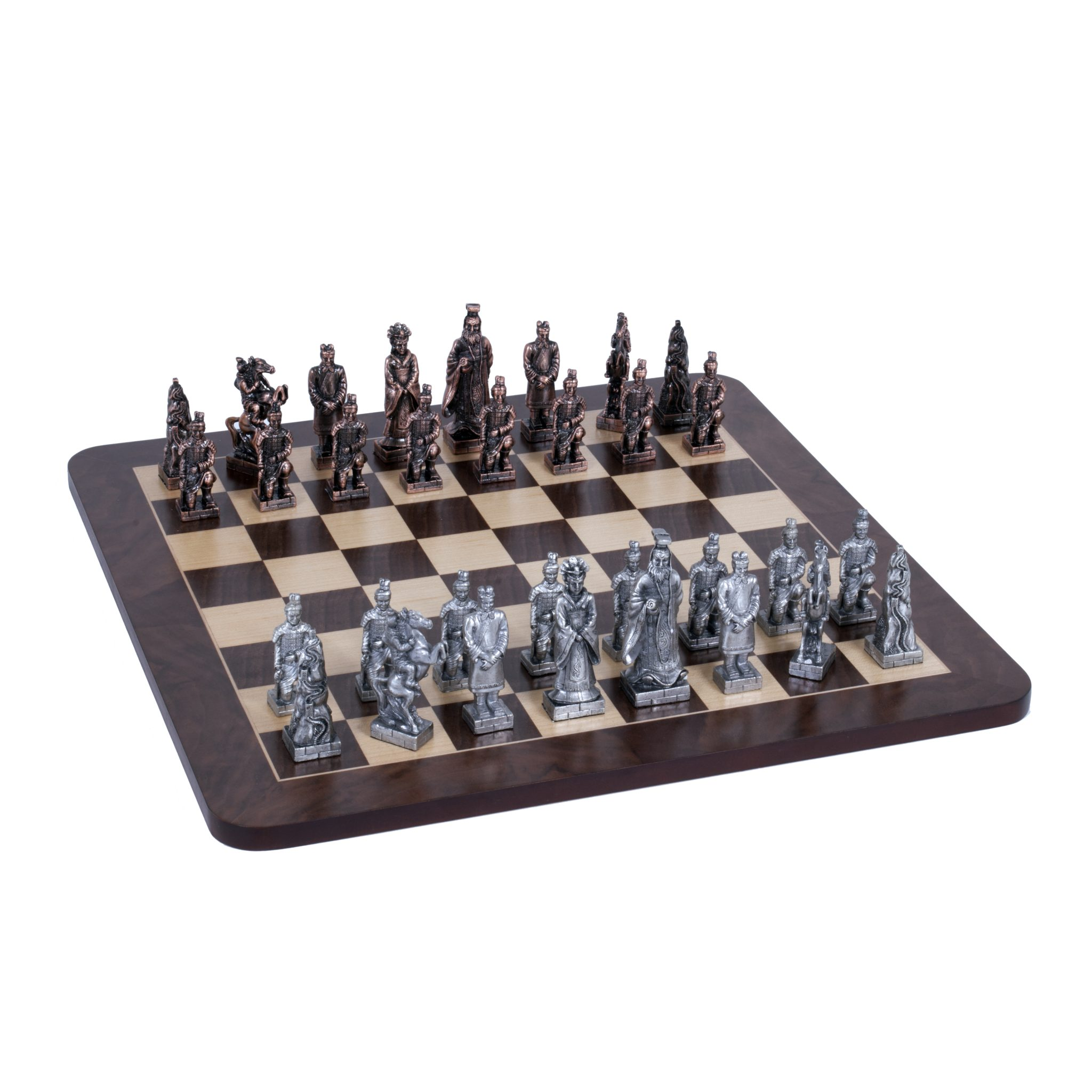Chinese Qin Chess Set Pewter Pieces Walnut Root Board