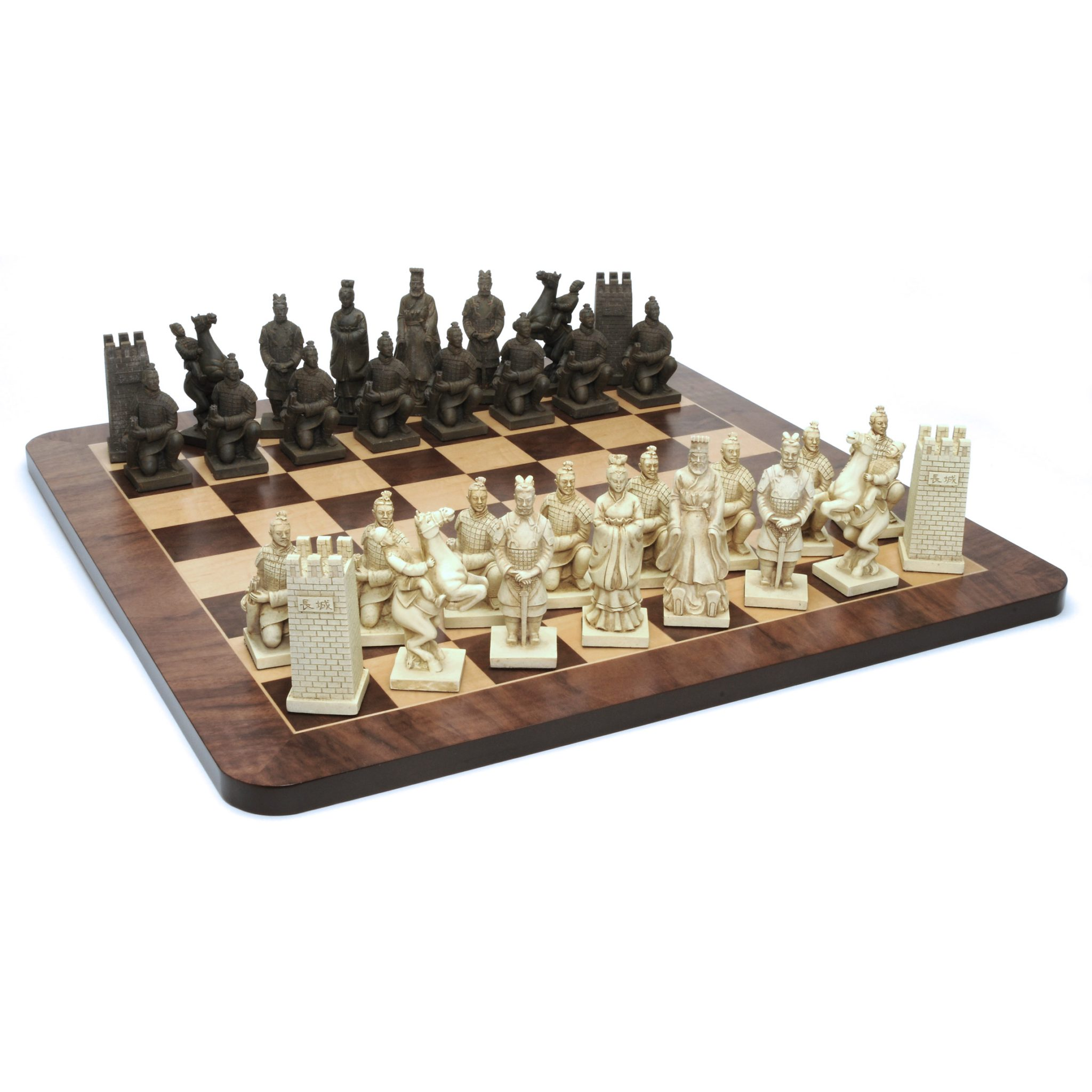 Chinese Qin Chess Set Polystone Pieces Walnut Root