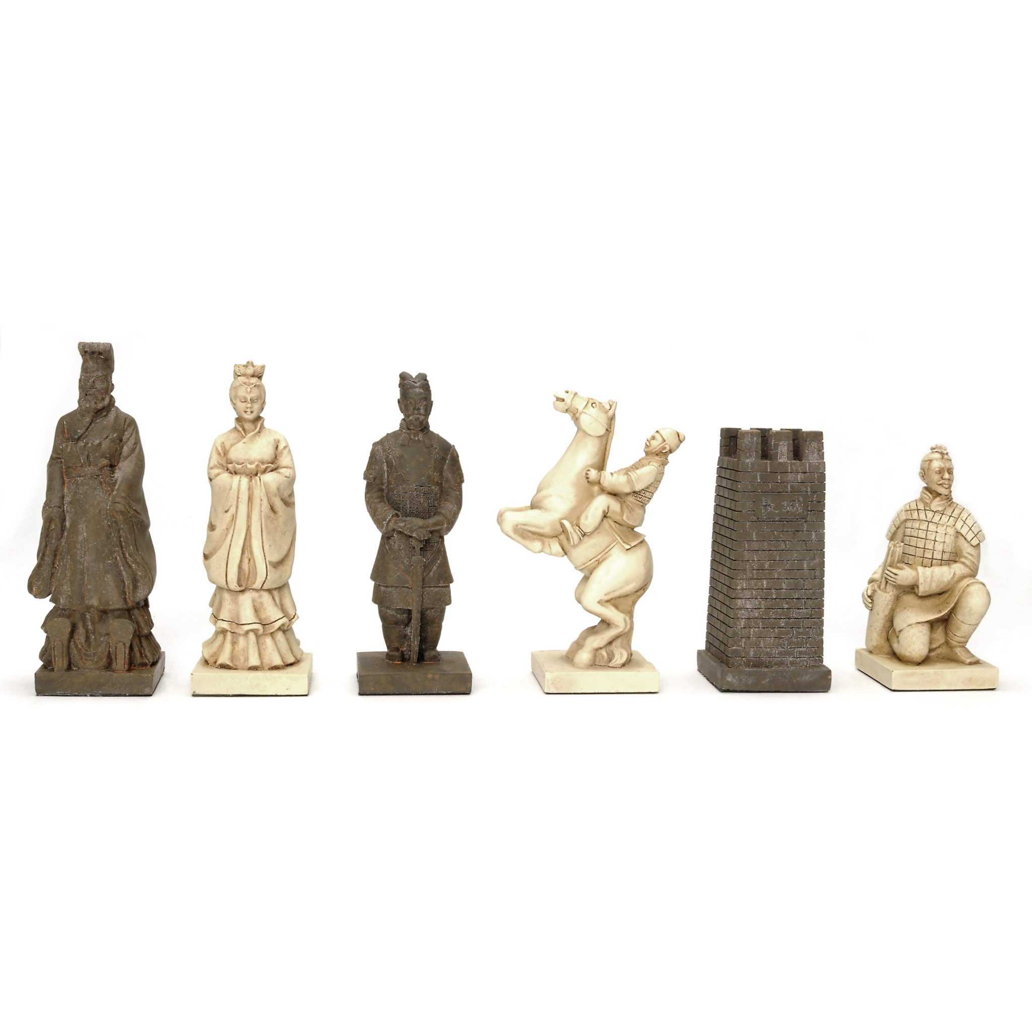 Chinese qin chess set polystone pieces walnut root board 19 in wood expressions - The chessmen chess set ...