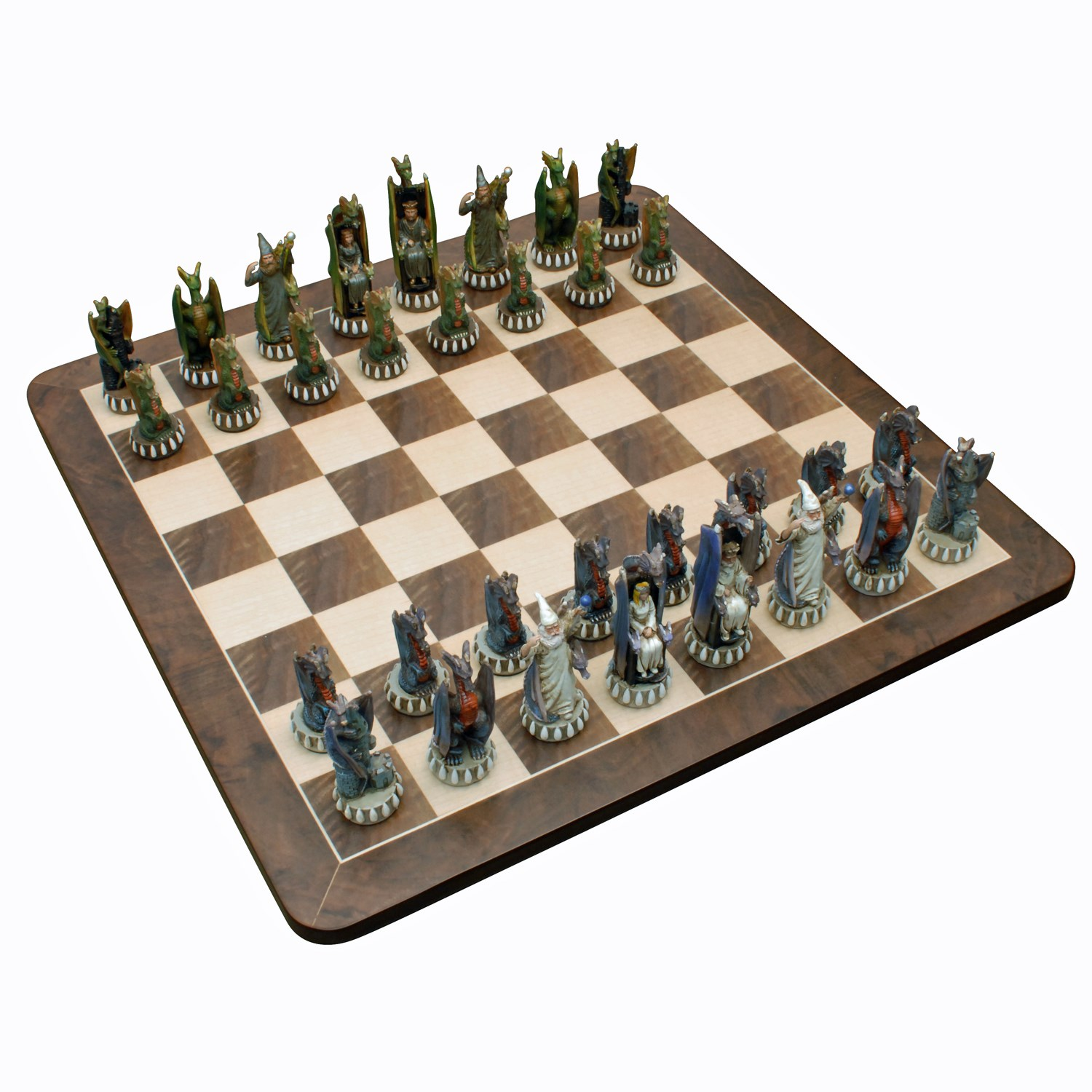 Dragon Chess Set Handpainted Pieces Walnut Root Board