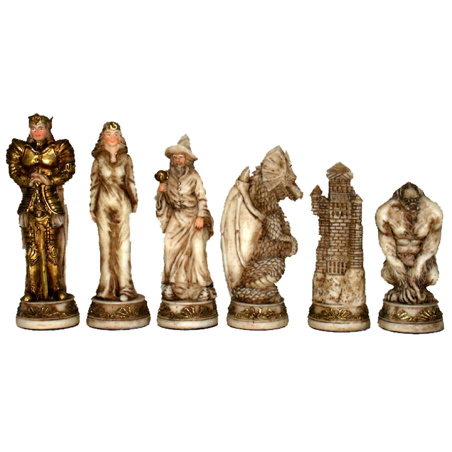 Fantasy Chess Set Handpainted Pieces Walnut Root Board