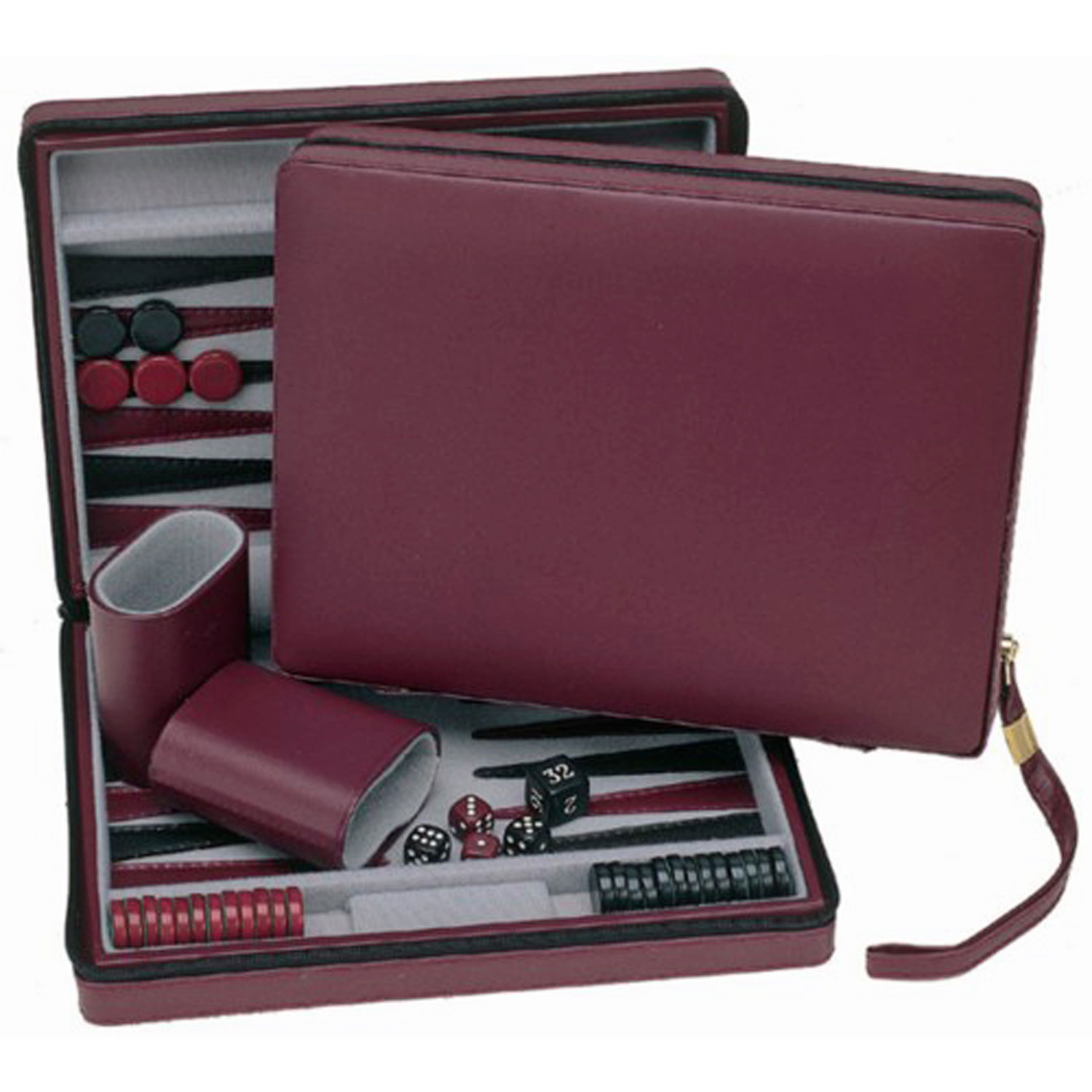 Burgundy Magnetic Backgammon Set with Carrying Strap