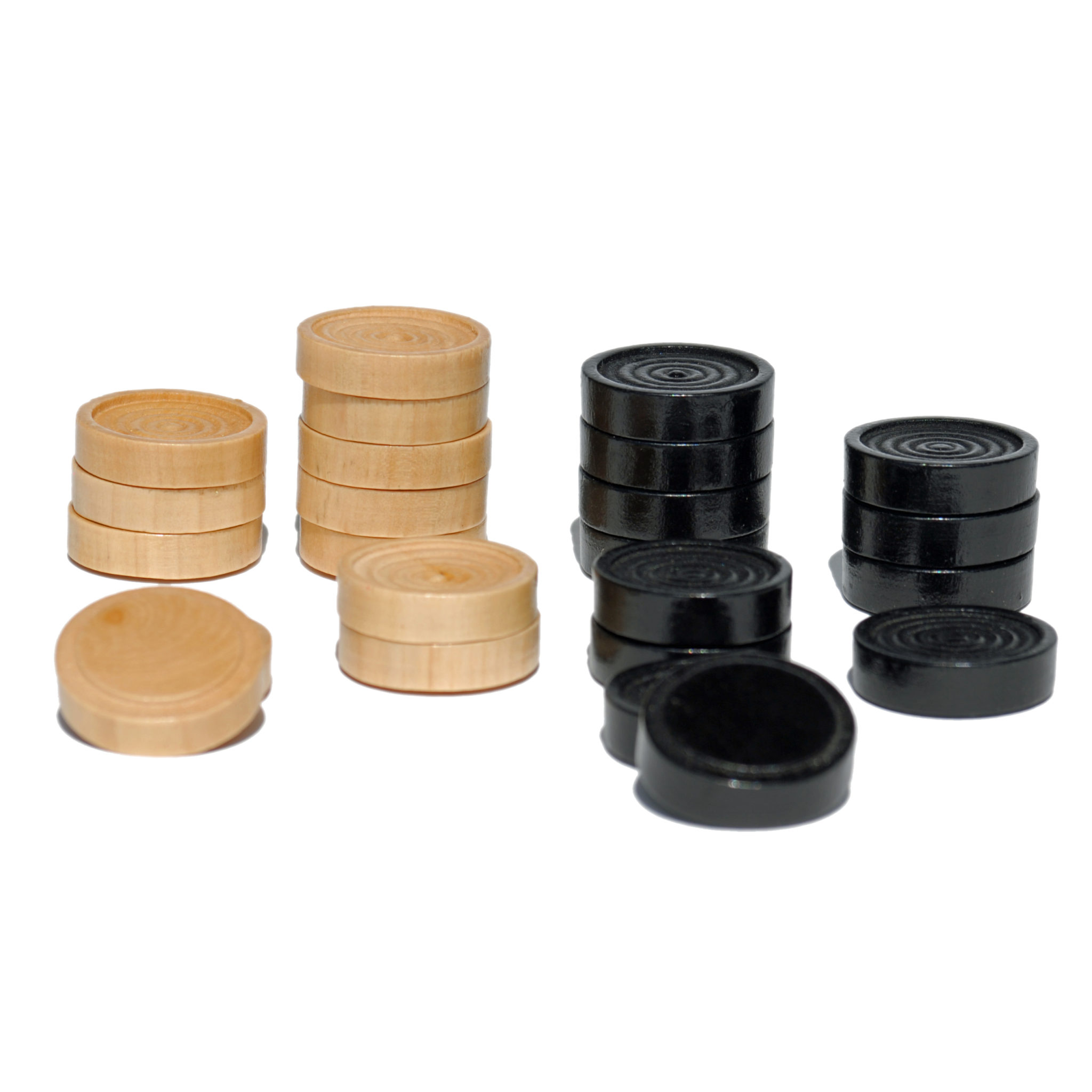 Checkers Pieces in Black and Natural Wood – 1.5 in ...