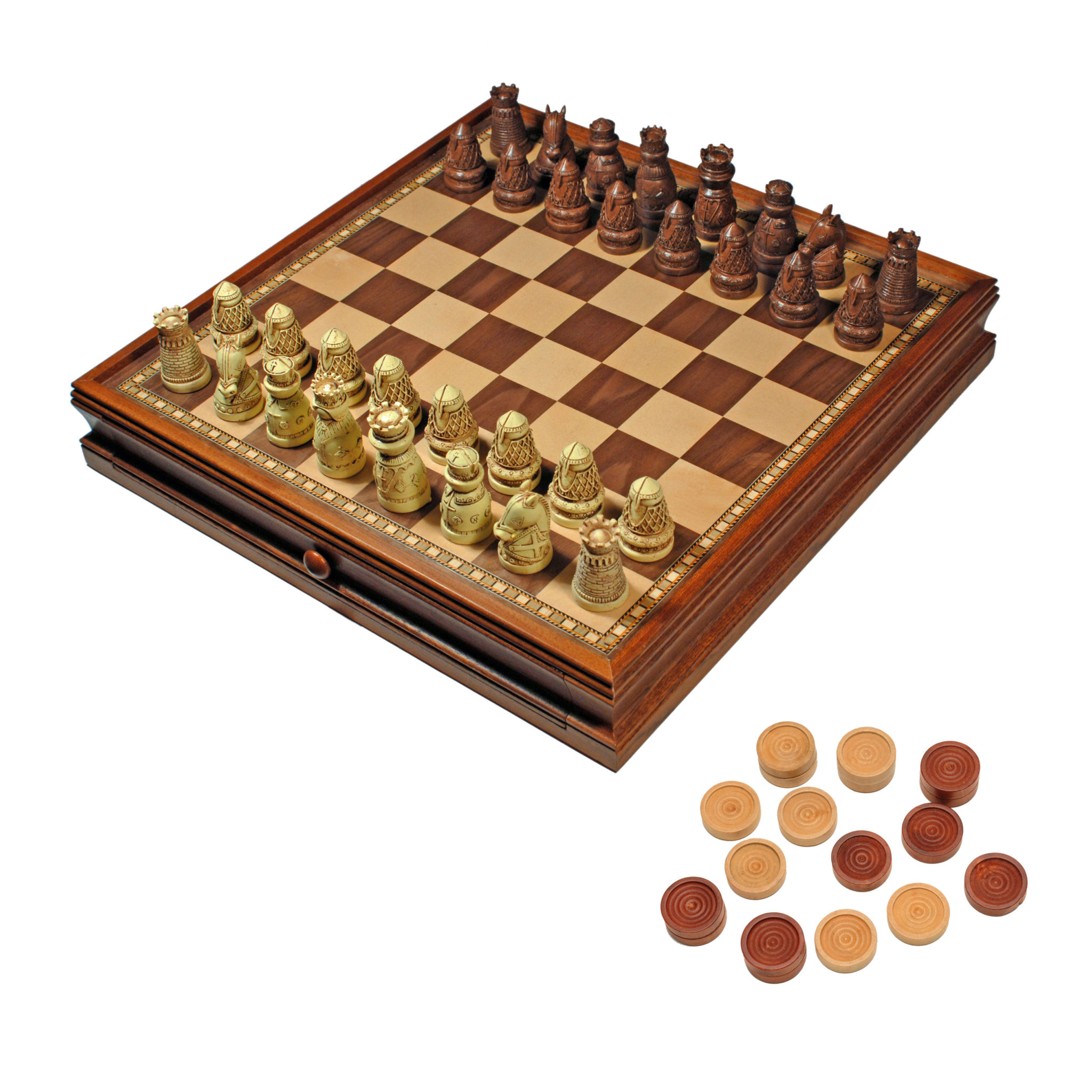 Medieval chess checkers game set brown ivory chessmen wood board with storage drawers 15 - The chessmen chess set ...
