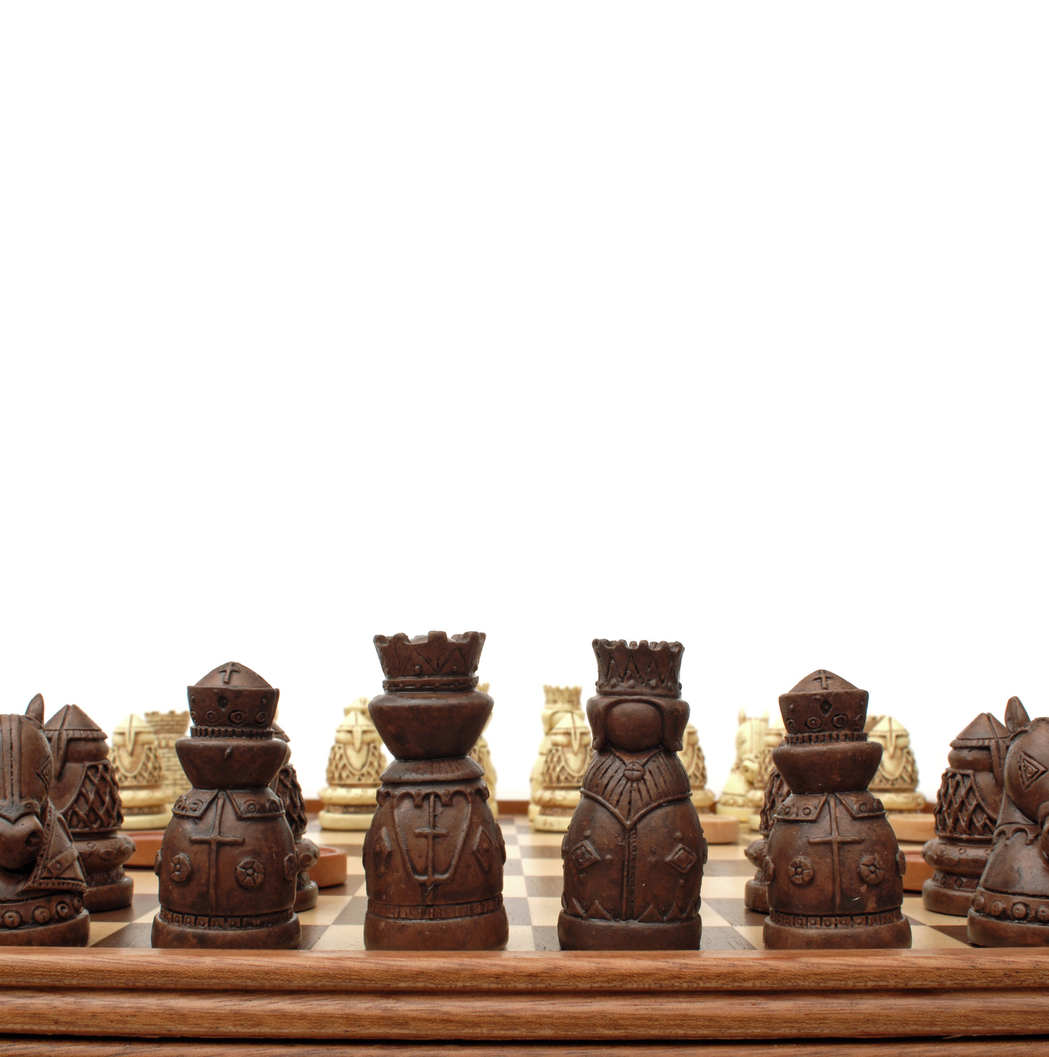 Medieval chess checkers game set brown ivory chessmen wood board with storage drawers 15 - Medieval times chess set ...