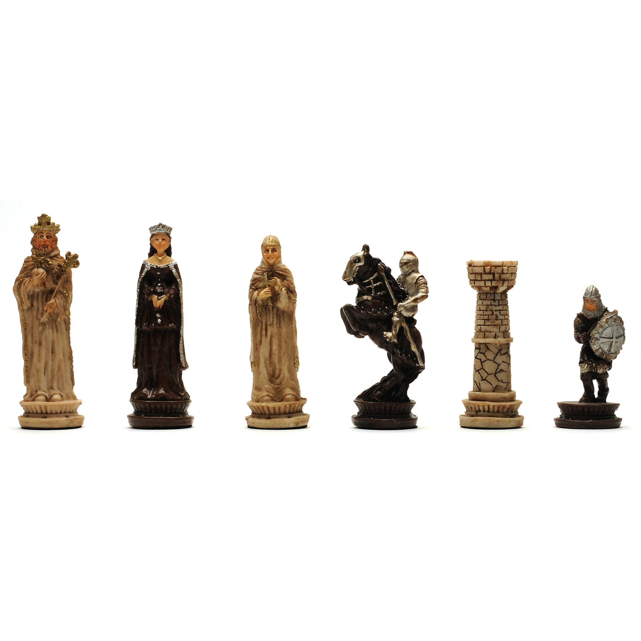 Medieval chess checkers game set handpainted chessmen wood board with storage drawers 15 - Medieval times chess set ...