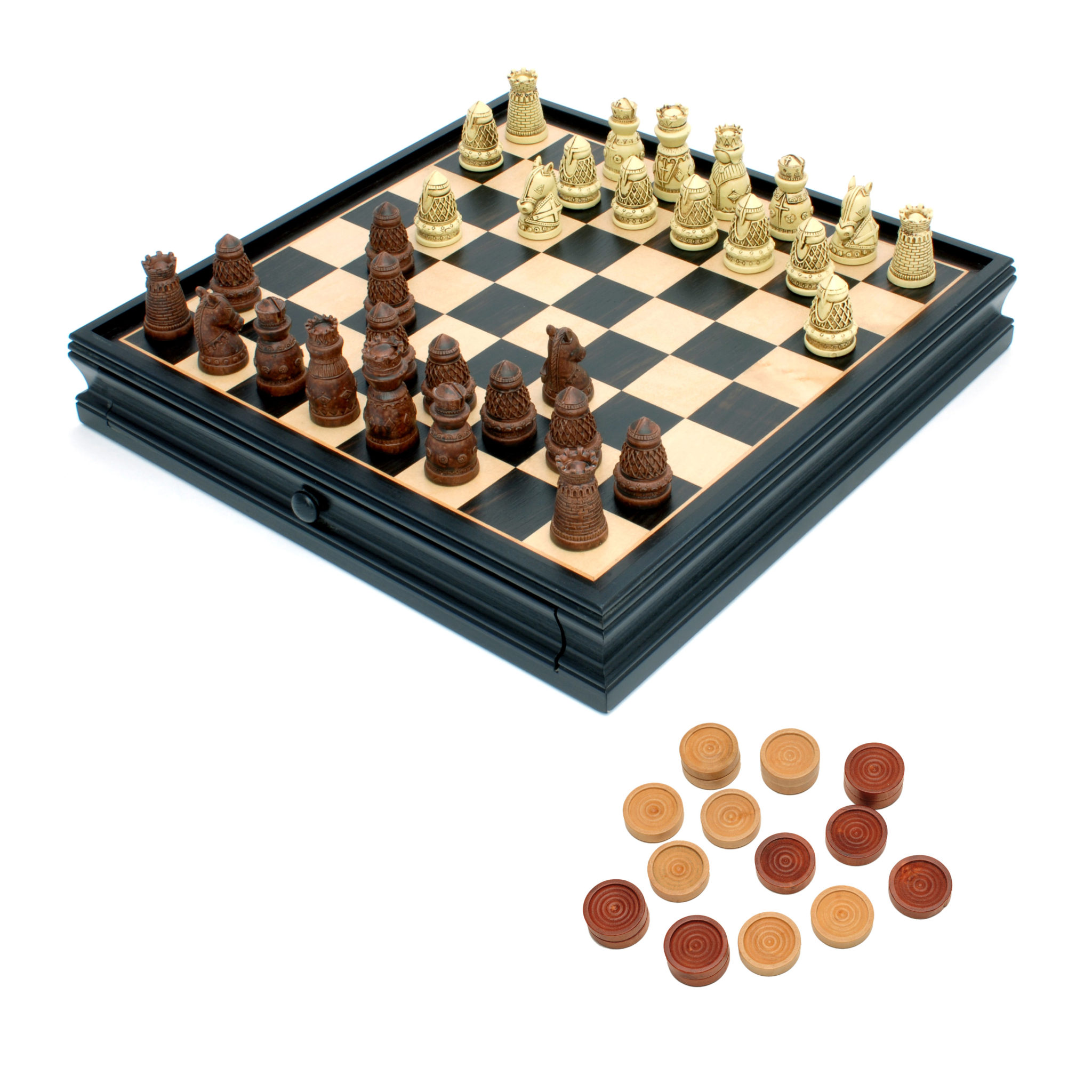 Medieval chess checkers set polystone pieces black stained wooden board with storage drawer - Puzzle boards with drawers ...