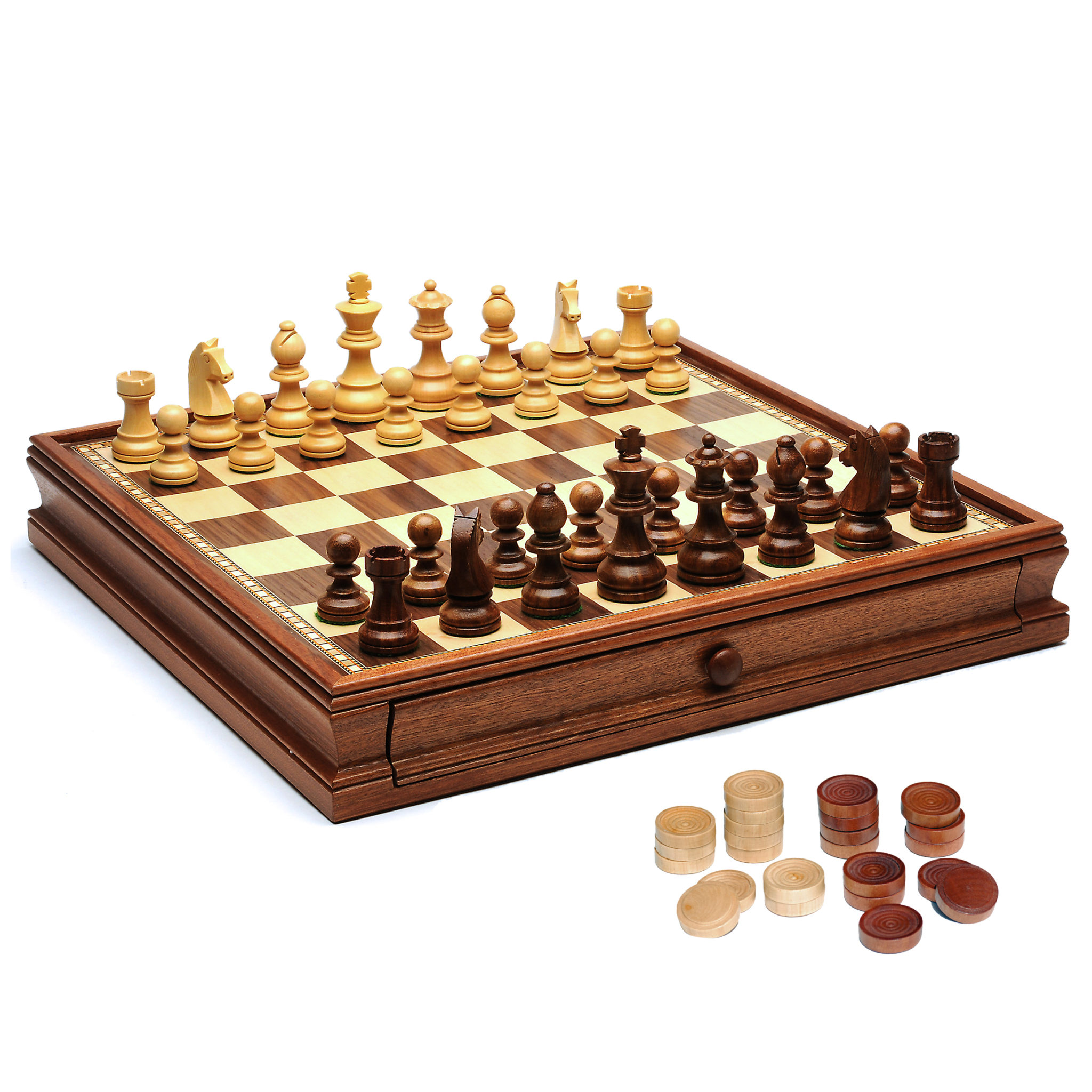 French Staunton Chess Checkers Set Weighted Pieces