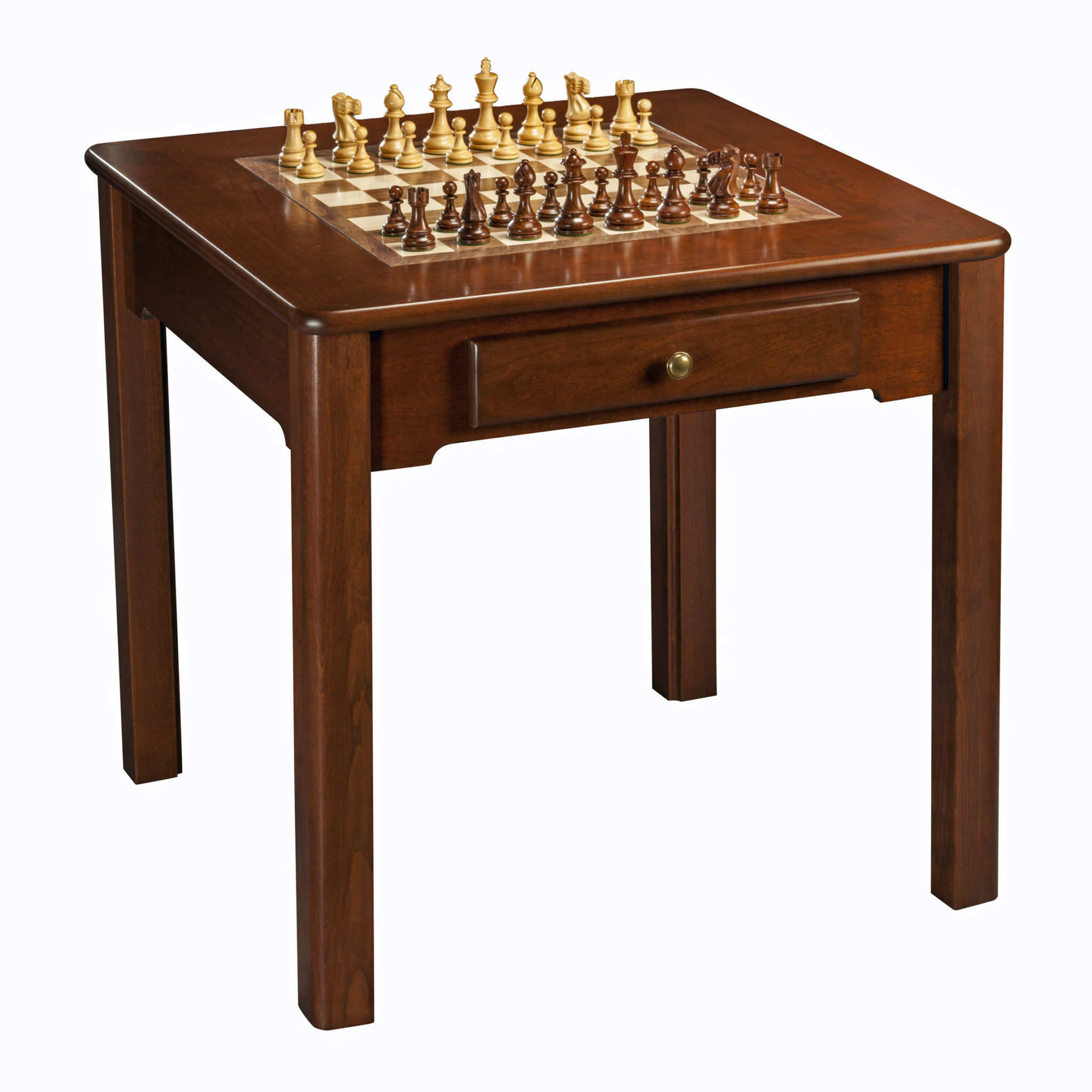 Classic game table solid cherry wood chess checkers