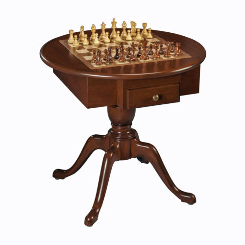 Round Pedestal Game Table, Solid Cherry Wood U2013 Chess, Checkers U0026 Backgammon  (Made In USA)