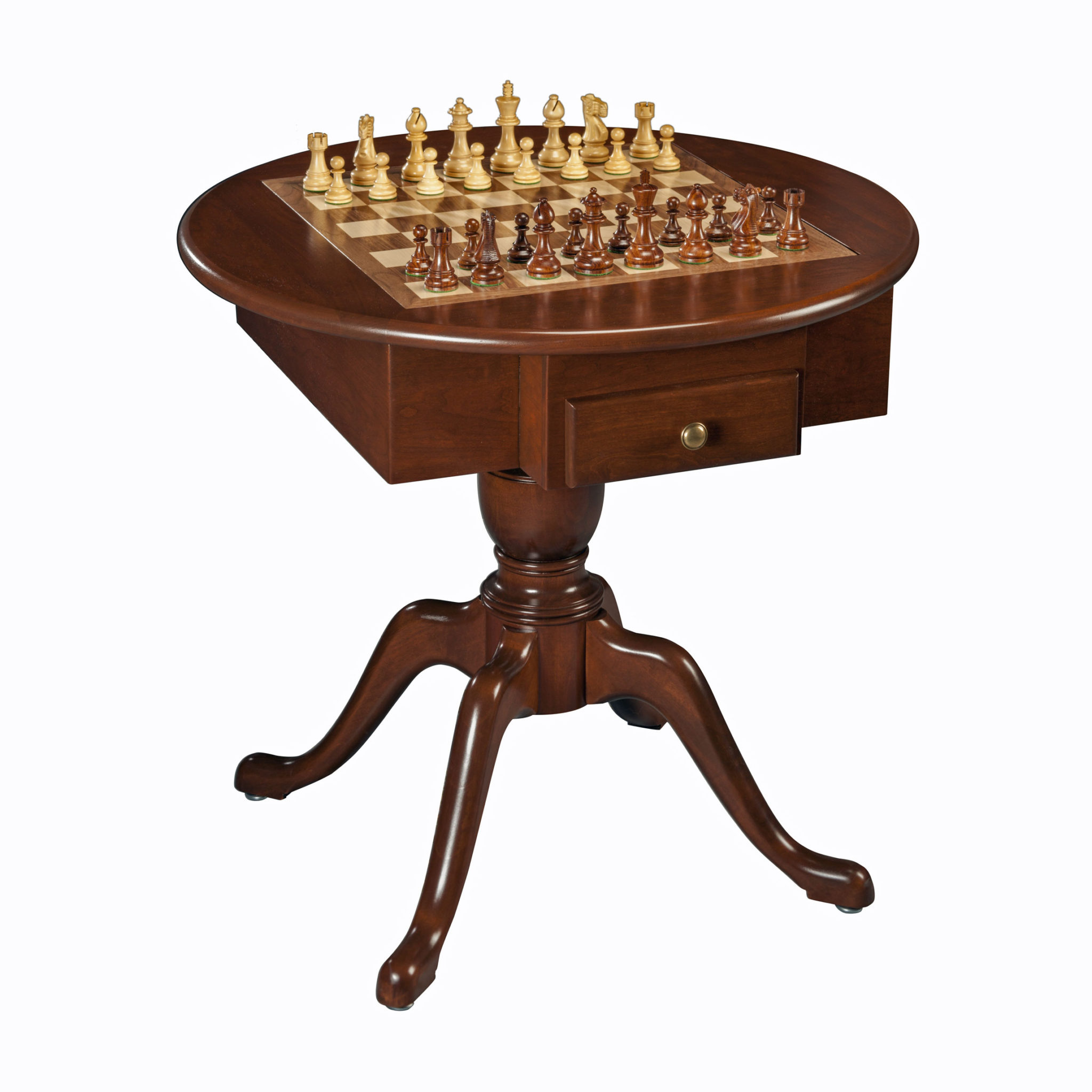 Round pedestal game table solid cherry wood chess for 10 games in 1 table