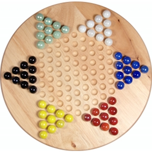 Chinese Checkers with Marbles - Solid Wood