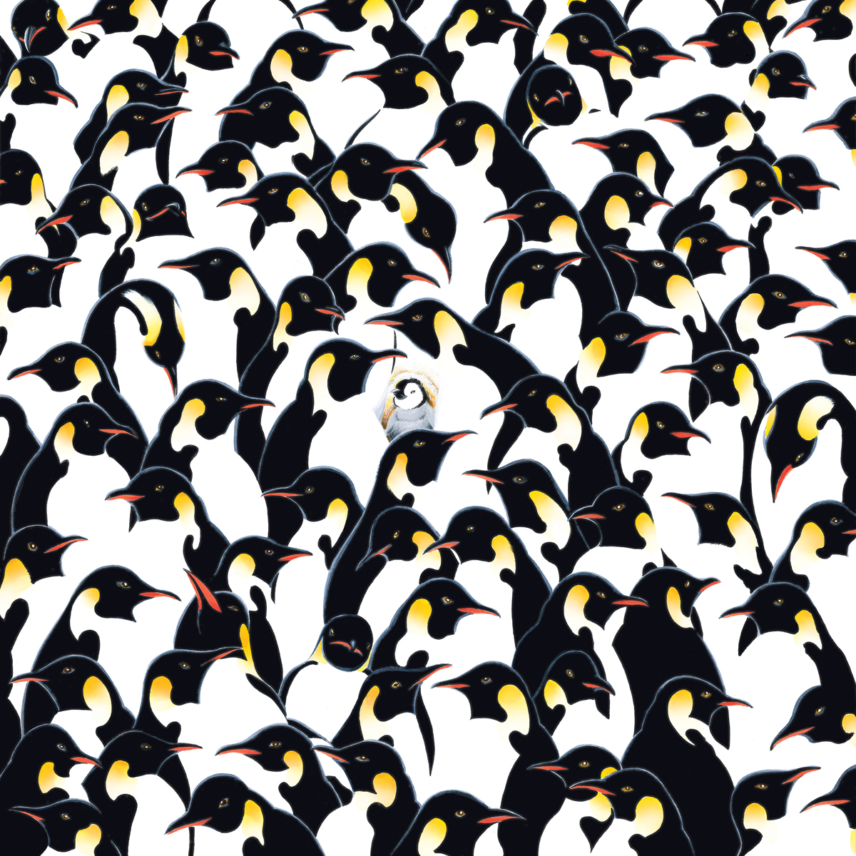 Penguins world's most difficult jigsaw puzzle double sided turned 90 degrees