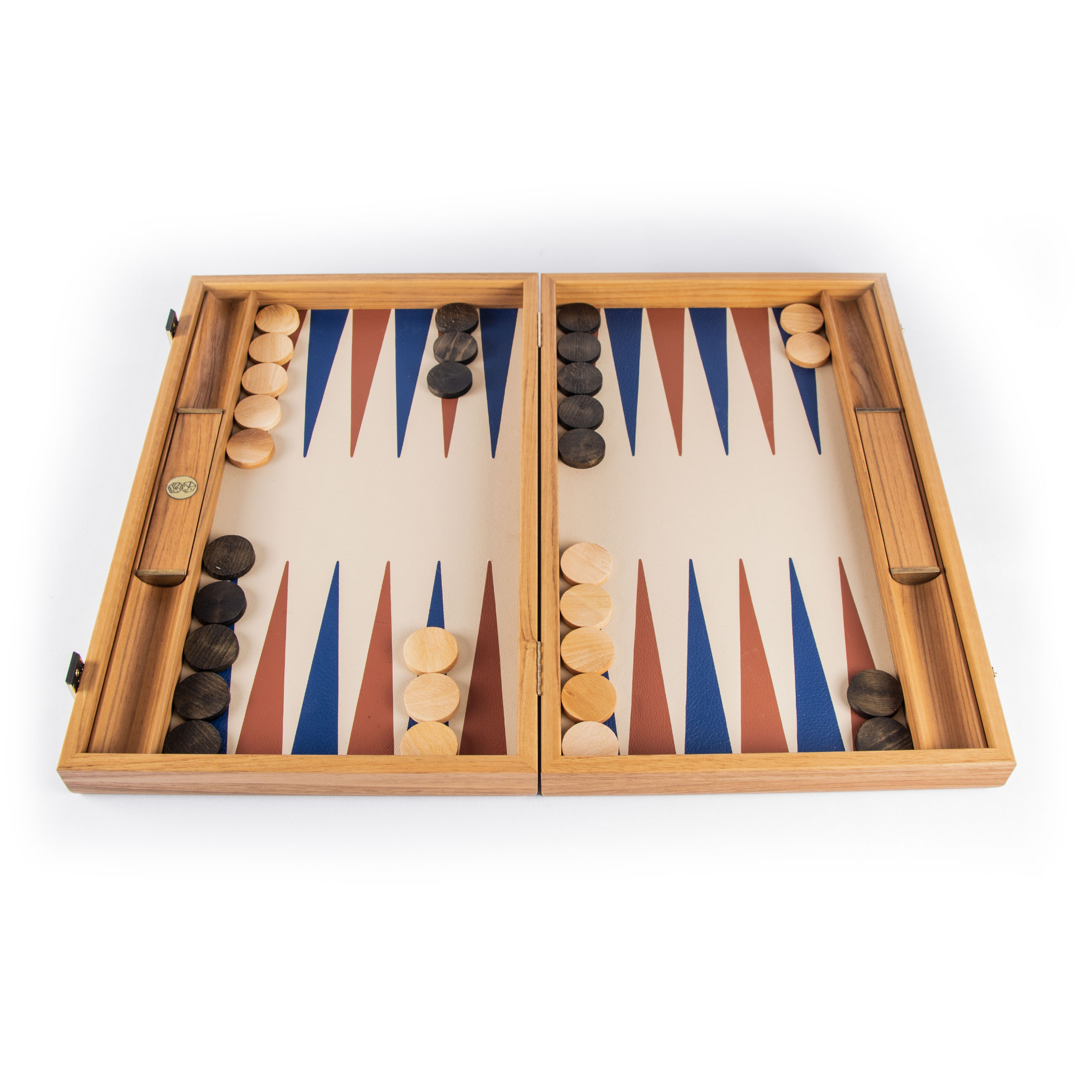 19 inch tournament backgammon with blue and orange points