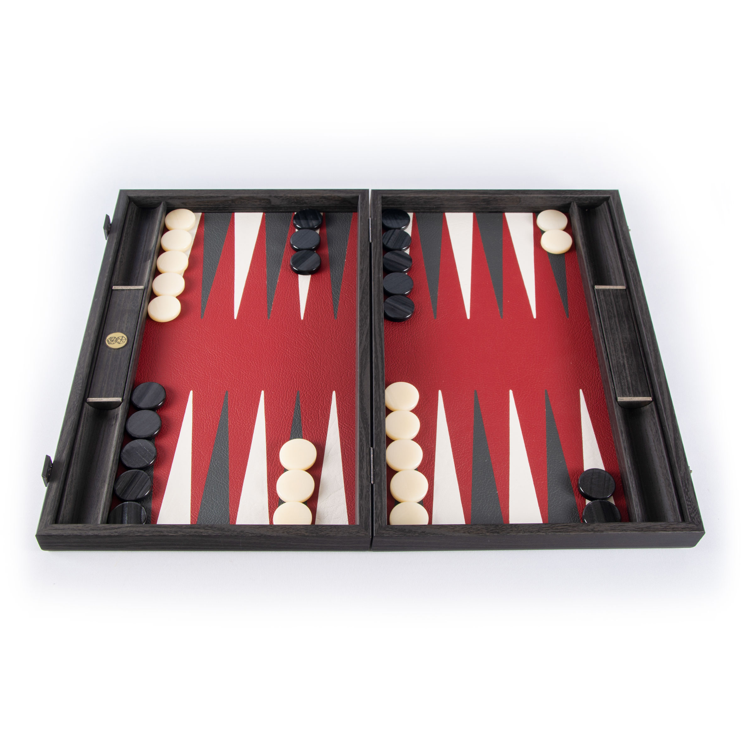 black and red backgammon set 19 inches with leatherette playing field