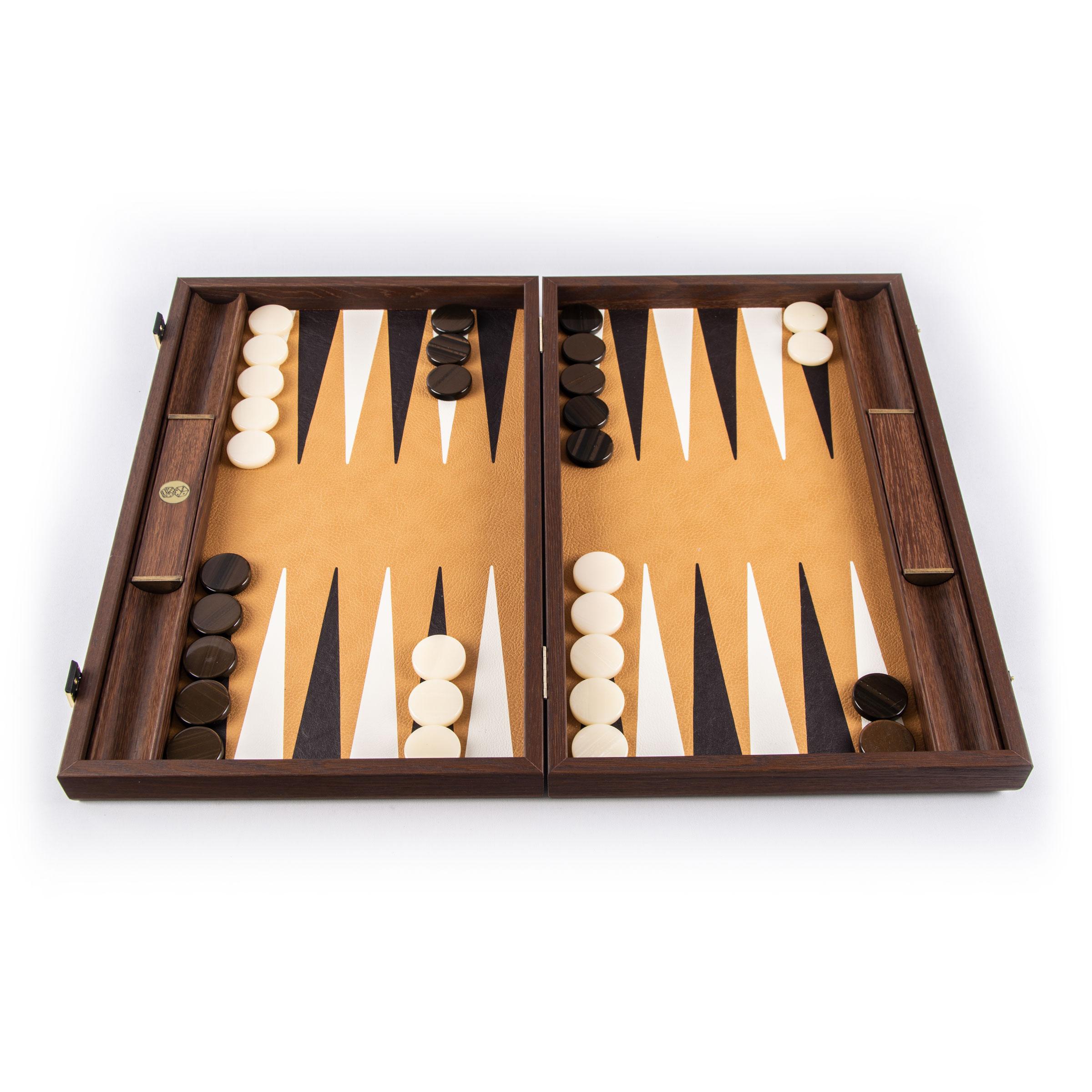 Dark Brown Wood backgammon set 19 inches tournament
