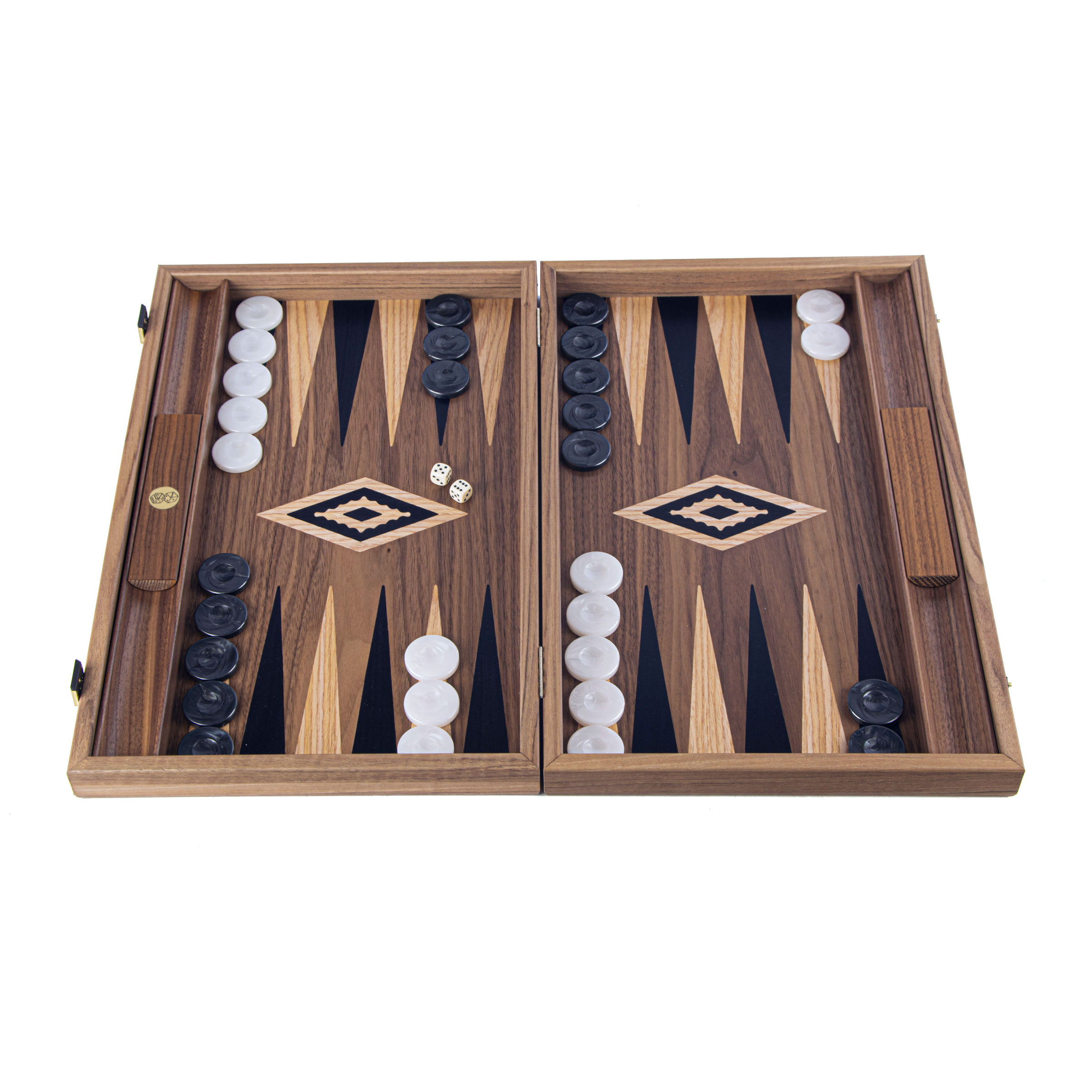 Luxury Backgammon Set Walnut with inlay